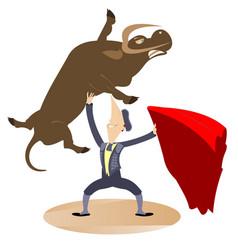 Cartoon bullfighter and the bull vector