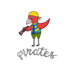 cartoon parrot pirate kids shirt design fashion vector image
