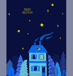 Christmas greeting card with house and starry sky vector