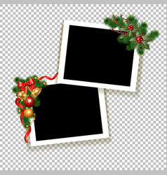 christmas photo frame vector image