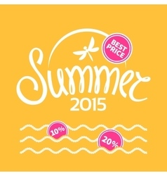 Colorful lettering summer on yellow background vector