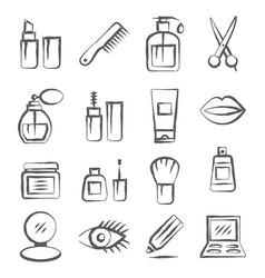 Cosmetics doodle icons vector
