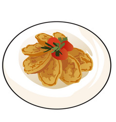 delicious fried pancakes or pasties with ripe vector image