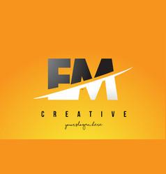 Em e m letter modern logo design with yellow vector