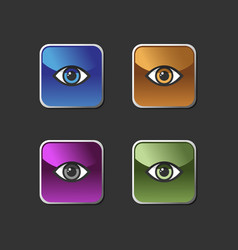 eye icon set on a colored square buttons vector image