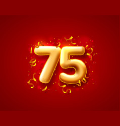 festive ceremony balloons 75th numbers balloons vector image
