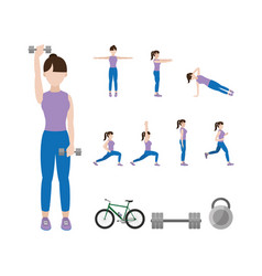 Fitness woman doing exercise vector