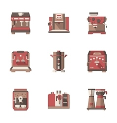 Flat style coffee making equipment icons vector image