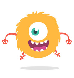 Funny cartoon one eyed monster vector