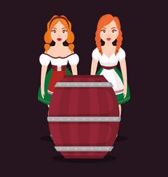 german women with beer barrel vector image