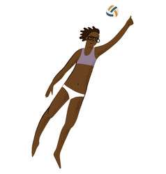 girl playing beach volleyball vector image