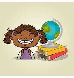 Girl student books global vector