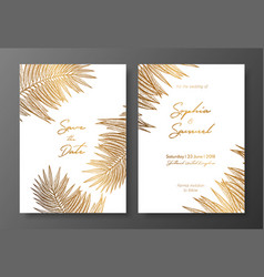 Gold wedding invitation with tropical leaves vector
