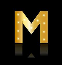 golden letter m shiny symbol vector image