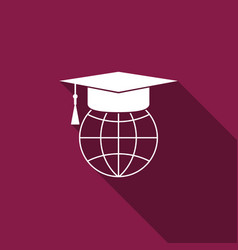 graduation cap on globe icon with long shadow vector image