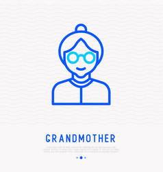 grandmother in glasses thin line icon vector image
