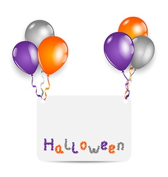 Halloween card with set colorful balloons vector image