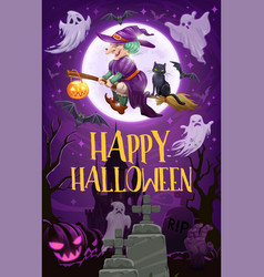 halloween witch with broom ghosts and pumpkins vector image