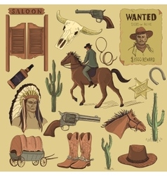 Hand drawn Wild West icons set vector