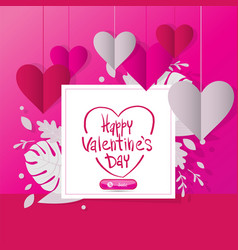 happy valentine day 14 february lovely pink vector image