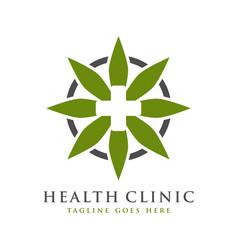 health symbol logo design and leaves vector image