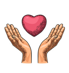 Heart in open female human palms black vector