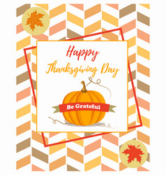 holiday banner with pumpkin for thanksgiving day vector image