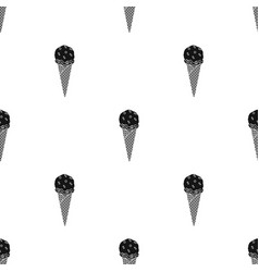 ice cream in waffle cone icon in black style vector image vector image
