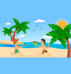 kids playing on beach summer holiday vector image