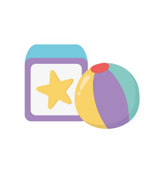 Kids toy block and beach ball play icon design vector
