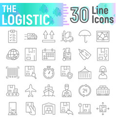 logistic thin line icon set delivery symbols vector image