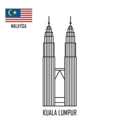 Malaysia landmark petronas towers at kuala lumpur vector