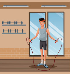 man sports jump rope training gym workout vector image