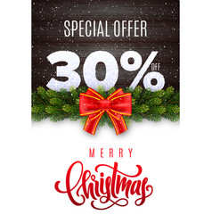 merry christmas holiday sale 30 percent off vector image