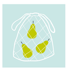 net fruit bag with pears zero waste concept vector image