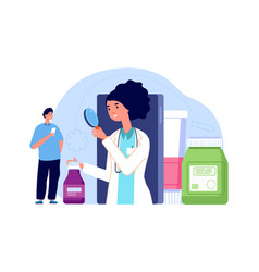 online pharmacy concept woman pharmacist look vector image