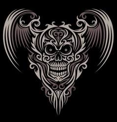 Ornate Winged Skull vector