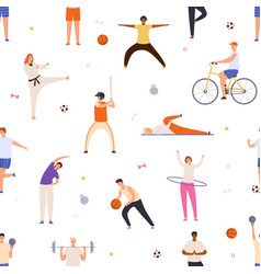 people exercise seamless pattern active man and vector image