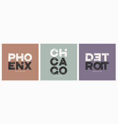phoenix chicago detroit cities t-shirt and apparel vector image