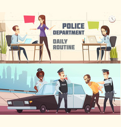 Police department horizontal banners vector