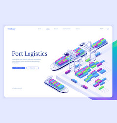 port logistics isometric landing freight delivery vector image