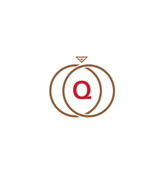 q letter ring diamond logo vector image
