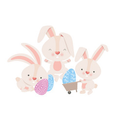 rabbits with wheelbarrow and easter egg icon vector image