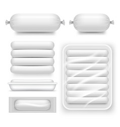 Realistic blank white sausage pack set vector