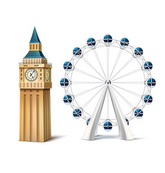 realistic ferris wheel london eye big ben vector image