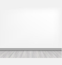 Realistic wood floor and white wall stock vector