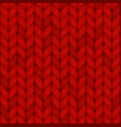 Red knitted seamless pattern wool vector