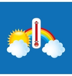 Red thermometer icon rainbow weather meteorology vector