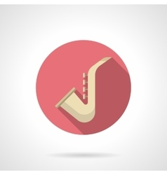 Saxophone round flat color icon vector image