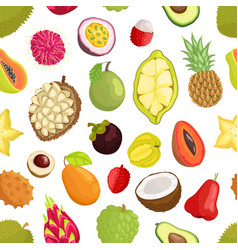Seamless pattern of tropica fruits avocado and vector